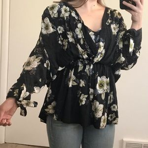 Free People FP Floral Tunic with Detailed Sleeves